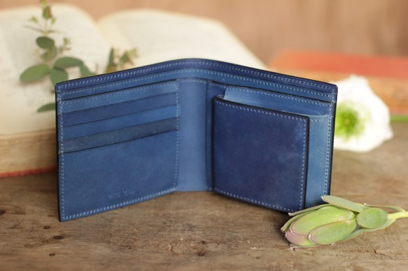 a1e2b2ffa9b7 藍染革 二つ折り財布 財布・二つ折り財布 enku/kenichi_harada 通販 ...