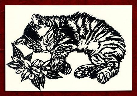 切り絵 寝てる猫