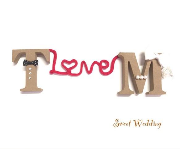 602878bc63476 再販 新郎新婦 赤い糸で結ばれたイニシャルオブジェ♡結婚式 ウェディング アルファベット ウェルカムボード Sweet Wedding