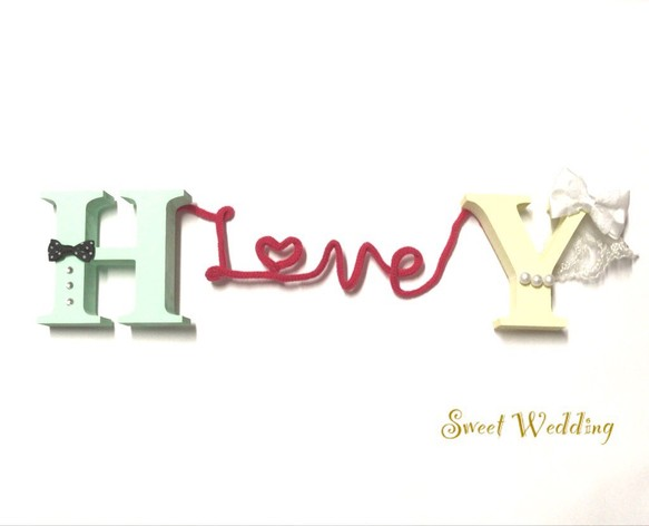 7cc2779e7be0d 再販 選べる着色 新郎新婦 赤い糸で結ばれたイニシャルオブジェ♡結婚式 ウェディング アルファベット ウェルカムボード Sweet Wedding
