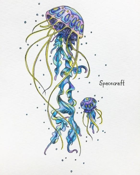 クラゲの宇宙船ポストカード イラスト Walnut 通販creemaクリーマ