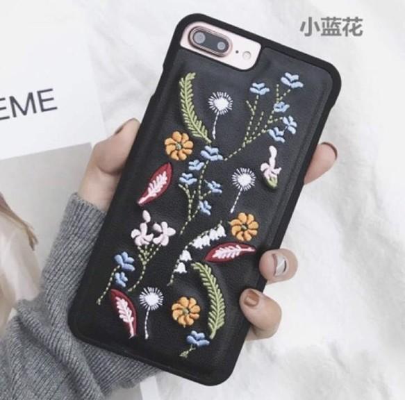 花柄 iPhoneケース 人気 刺繍 おしゃれ ボタニカル かわいい ...