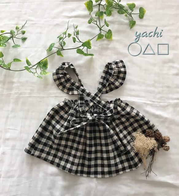 3e36a96759f06 新作❤ ちょこんとフリル付き❤ 小さな女の子のブロックチェックベビースカートサロペット❤ ベビー服 yachi