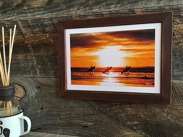 カリフォルニアスタイルフレームアート beach sunset a5判ビンテージ