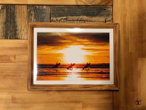 saoさま専用 カリフォルニアスタイルフレームアート beach sunset a4判