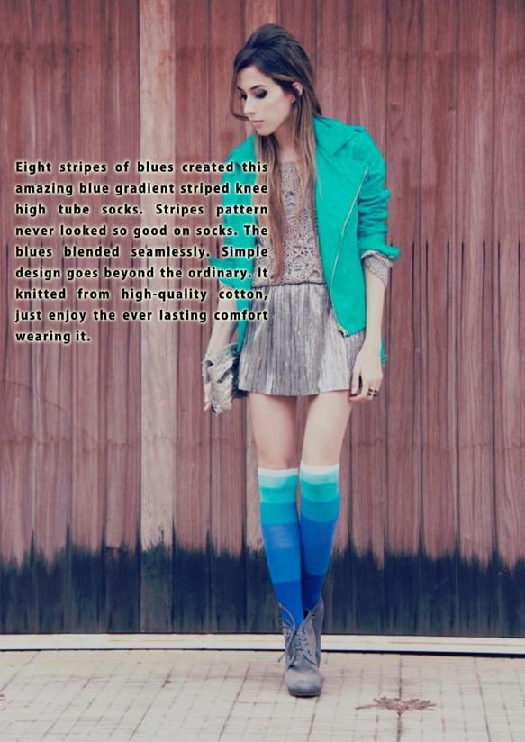 ca80b6df73c50c ソックス - 靴下の女の子 - シンプルなソックス - チューブ青ストッキング