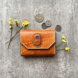 on sale 695e6 16164 オレンジの名刺入れ 本革の小財布 花 Business card case