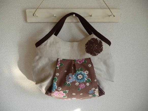 1862616e18c6 ふっくらバッグ リネン 茶花柄 ハンドバッグ まてりある 通販|Creema ...