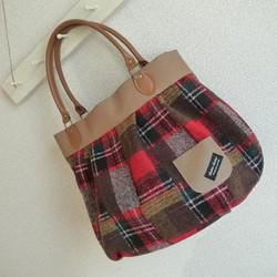 80b85c318900 バルーンバッグ 赤チェック ハンドバッグ まてりある 通販|Creema ...