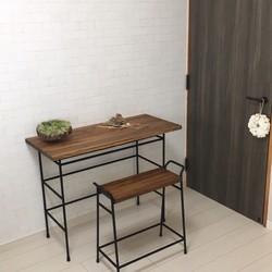 受注製作 iron low work desk stool ワークデスク スツールセット ダーク