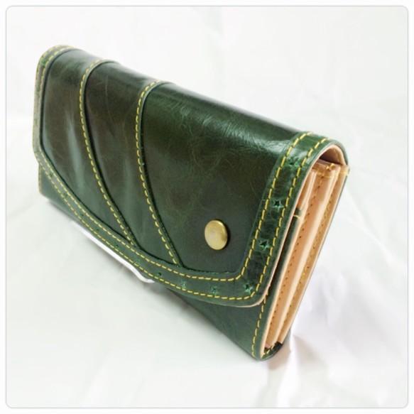 43336f1627c0 SALE*CU149GR 革財布 エトワール 星 フラップロングウォレット グリーン 緑 長 ...