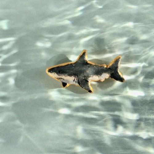 泳ぎ回るホオジロザメバッジ ブローチ KOMAKKOU64 通販|Creema ...