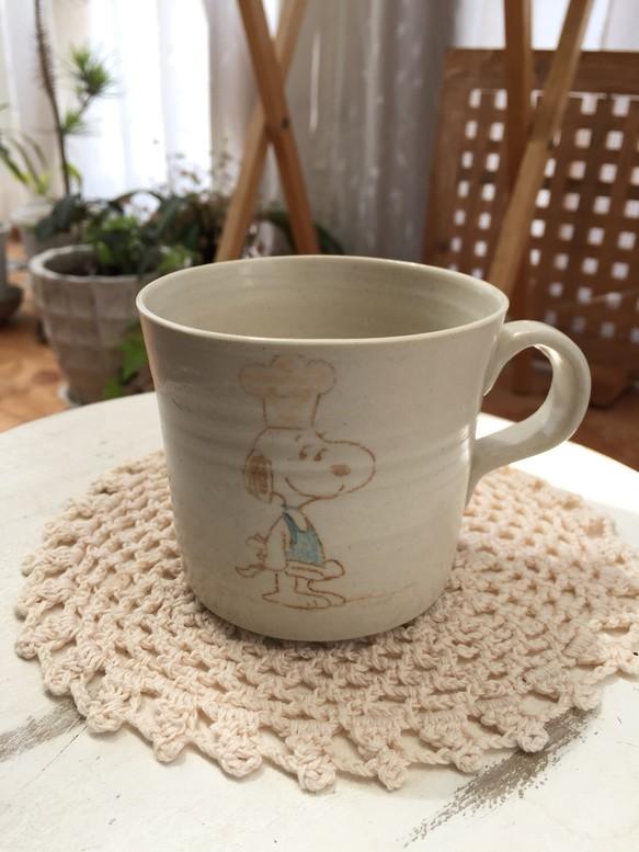 手作り陶器 マグカップ中イラスト可愛いコック グラスカップ酒器