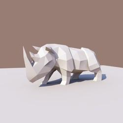 3dペーパーモデル ペーパー彫刻 ペーパーアート rhinoceros diy kits