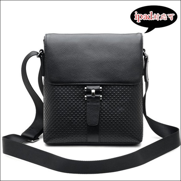 5f12d59a8a1f 星柄押し 本革 レザー メンズ ショルダーバッグ iPad B5対応 ブラック 黒 肩・斜め掛け カジュアル 鞄