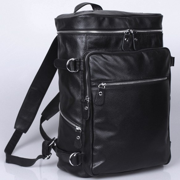 d57e45a5c870 超大容量 ボックス型 本革 メンズ レディース リュックサック 17PC A3対応 黒 ディパック バック