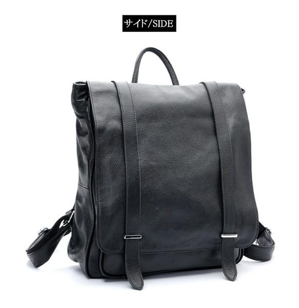 499e6d2a20af 黒系 ベルト飾り メンズ レディース 本革 レザー リュックサック ディパック バックパック ビジネスリュック 自転車 リュック・バックパック  amanda