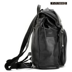 巾着式 革紐飾り メンズ 本革 リュックサック 黒 ブラック色 16PC A4対応 書類鞄 2WAY ディパック バック|リュック・バックパック|amanda|ハンドメイド通販・販売の