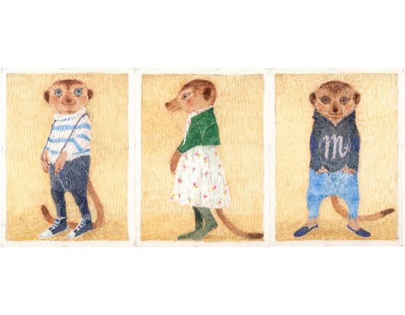 ミーアキャットの春原画3枚組 イラスト Laputti 通販creema