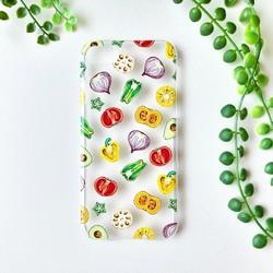 カラフル野菜断面イラストiphoneケース送料無料 Iphoneケース