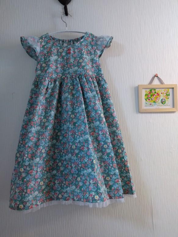 c0d1e498c81b2 130サイズ エメラルドグリーンのフラワーワンピース 女の子 子供服 結布 ...