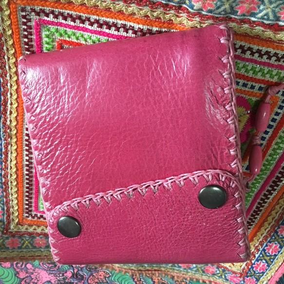 07eed3641c22 ハッピーピンク 革職人の手作り財布屋 。 ハンドメイド レザー ウォレット 本革 手縫い 50 レザークラフト 革細工