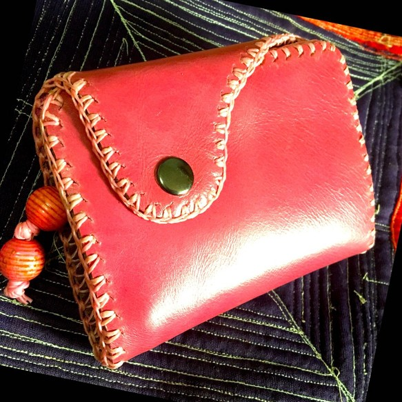 7217b9ddedc3 ハッピーピンクレザー ウォレット 送料無料 革職人の手作り財布屋 本革 手縫い バッグ