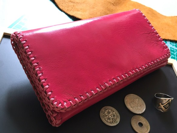 6c9e34fa6b3c 送料無料 ハッピーピンクレザー ウォレット 革職人の手作り財布屋 本革手縫いバッグ ポーチ 長財布