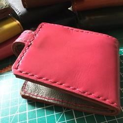 45f2db8f1c92 送料無料 ハッピーピンク レザーウォレット バッグ 革職人の手作り財布屋 本革手縫い細工ポーチ