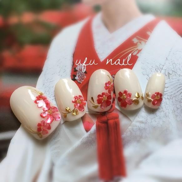 ホワイトベースの和の紅色シェルネイル♡成人式/着物/卒業式/振袖/和装