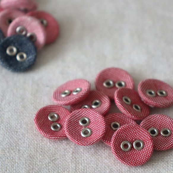1775ebc4cebf0  10個入り anvai オリジナル 穴あき くるみボタン 平2つ穴 ピンク オリジナル巾着 錆びないアルミE94C