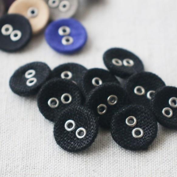 1b2ccf3d33df5  10個入り anvaiオリジナル 穴あき くるみボタン平2つ穴 オリジナル巾着 錆びないアルミ ブラック E96J