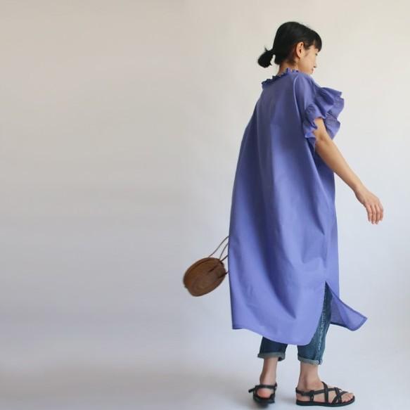 f7cf86ea2709f    夏支度SALE 上質コットン100% 大人のフリル袖 半袖 ロング ワンピース ライトパープル 藤色 H70D ワンピース・チュニック anvai