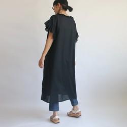 0c7c32fa6474c   夏の支度PRICE 上質コットン100% 生地でつくる フリル袖 半袖 ロング ワンピース ブラック 黒 H70F