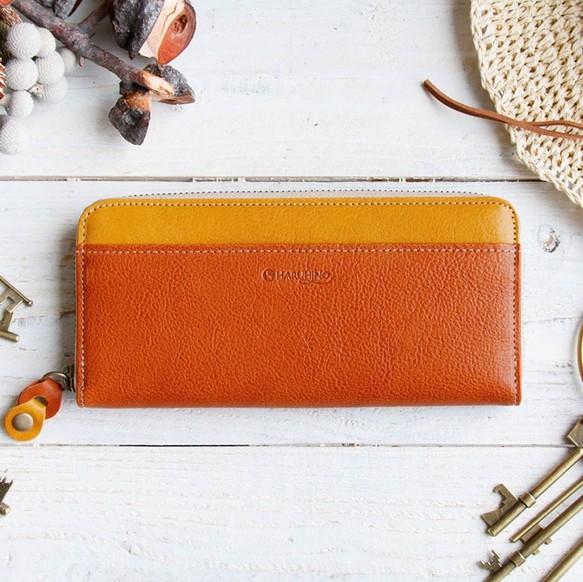 3c0a23da14a2 <送料無料>令和の縁起物 バイカラーのヌメ革財布 オレンジ/イエロー ラウンドファスナー レザー(牛)