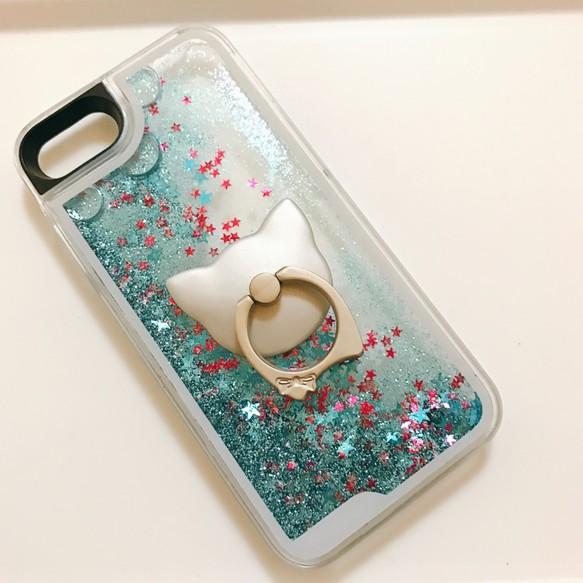 c1048c051c 【値下げ/訳あり】iPhone8/iPhone7/6/6s ウォーターケース スマホケース 猫 スマホリング