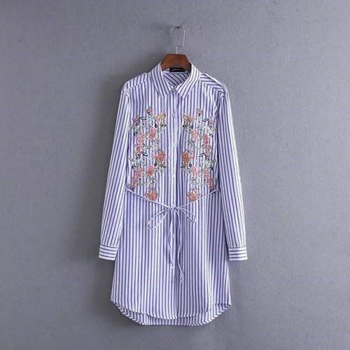 シャツワンピース 刺繍花ボーダー柄ロングシャツ M