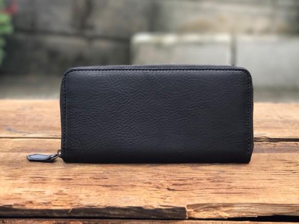 7bfb8fde239d イタリア 経年変化 長財布 / アリゾナレザー ラウンドファスナー / 革 ブラック 黒