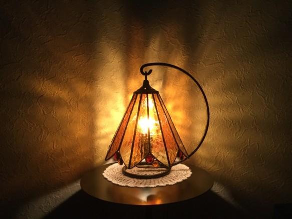 琥珀ランプ☆彡ステンドグラス・テーブルランプ 照明(ライト)・ランプ すずらん藤田