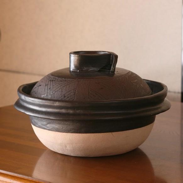 取手もいい土鍋 黒釉(木つまみ)・小(1~2人用) - 暮らしの器USAGIYA|ONLINE SHOP