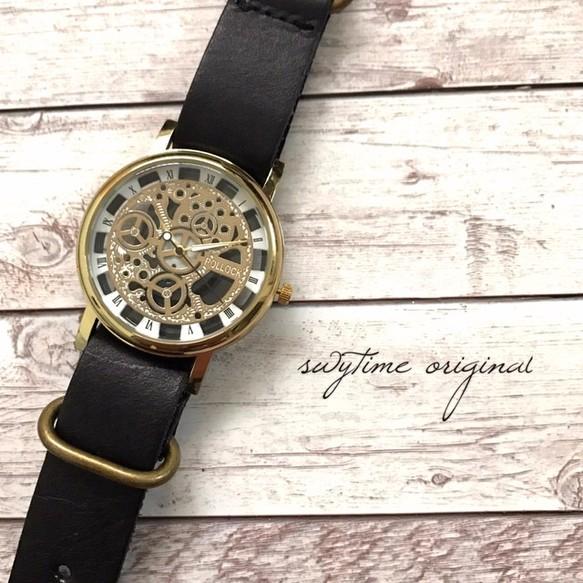 95a15c9127 【刻印可能】夏のレザーウォッチ ゴールド× ブラック 腕時計 メンズ レディース シンプル ギフト 人気 プレゼント