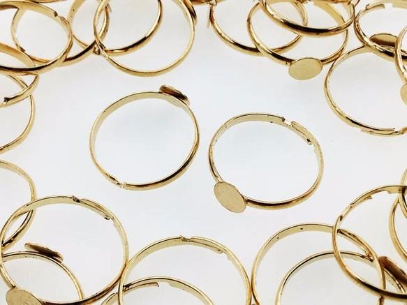 送料無料 リング パーツ 指輪 6mm台座付き ゴールド 50個 サイズフリー B級 アクセサリー パーツ AP0453
