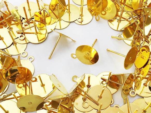 送料無料 ピアス パーツ セット ゴールド 10mm 平皿 100個 カン付き アクセサリー パーツ AP0799