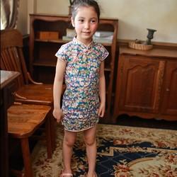 ef88f2fbd5f61 小さな青い花のチャイナドレス(2歳〜5歳) 子供服 Shining.Gifts 通販|Creema(クリーマ)  ハンドメイド・手作り・クラフト作品の販売サイト