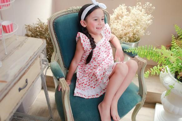7d05b679c248c 米国の綿花細かい糸 - ピンクの弓のドレス2年(90センチメートル)〜5年(120センチメートル)