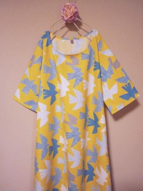 69824d2f28d8a 色んな模様の鳥ワンピース 黄色 ワンピース・チュニック うたたね‥  通販 ...