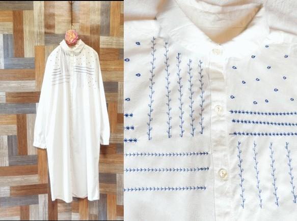 74000c18179e7 最終出品 丸襟 刺繍ブラウスワンピース 白×青 ワンピース・チュニック ...