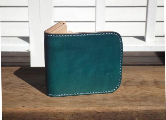 cf91d214b69c 二つ折り財布 ハーフウォレット レザー ターコイズブルー コンパクト財布 ミニ財布 (受注生産)