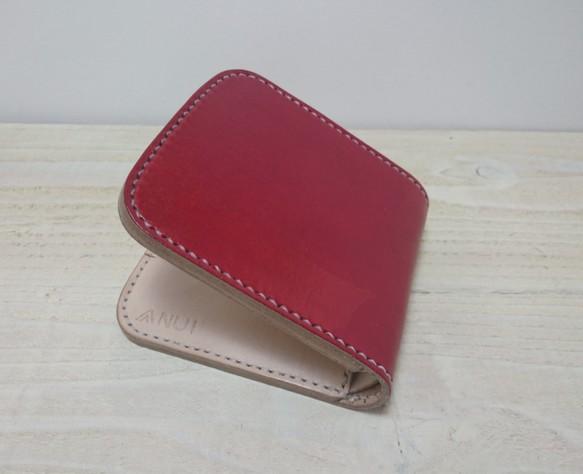 5dba4a93fdac 《受注生産》二つ折り財布 ハーフウォレット レザー ワインレッド コンパクト財布 ミニ財布
