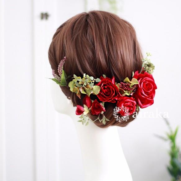 クラシックローズの髪飾り/赤 ヘッドドレス(ウェディング) airaka(アイラカ)